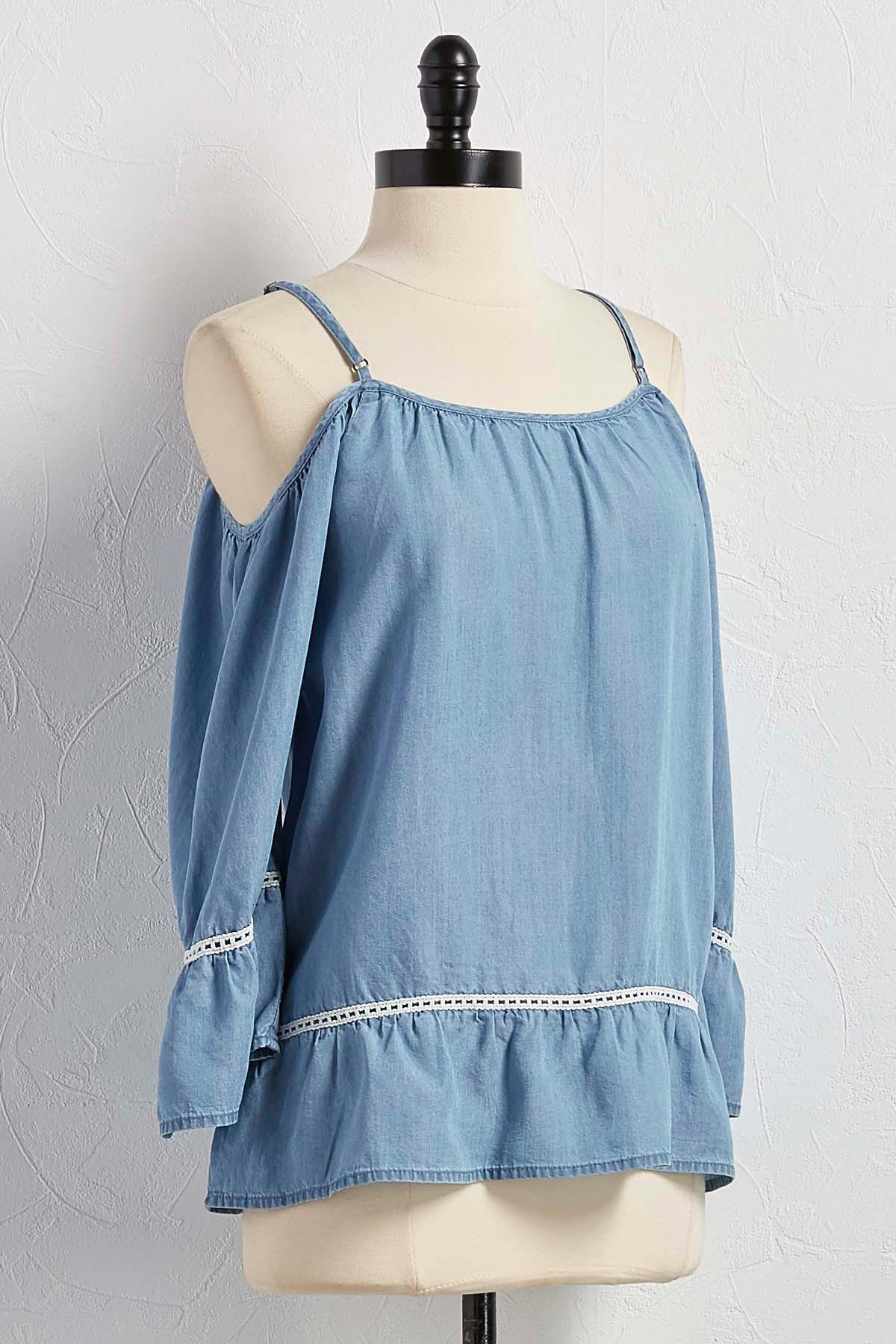 Flounced Bare Shoulder Chambray Top