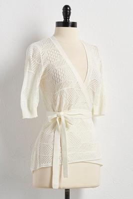 pointelle wrap cardigan