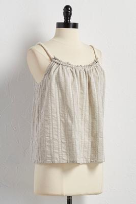 embroidered striped drawstring tank
