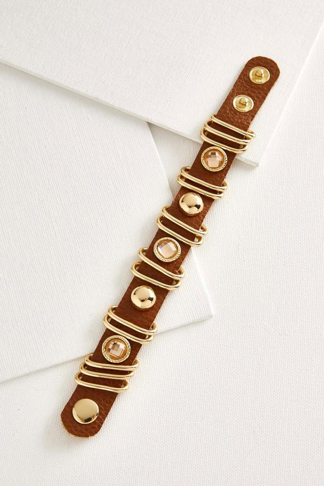 Embellished Faux Leather Bracelet