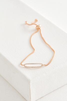 pave cz oval cutout brass bracelet