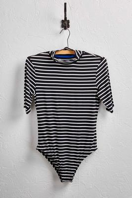 striped mock neck bodysuit