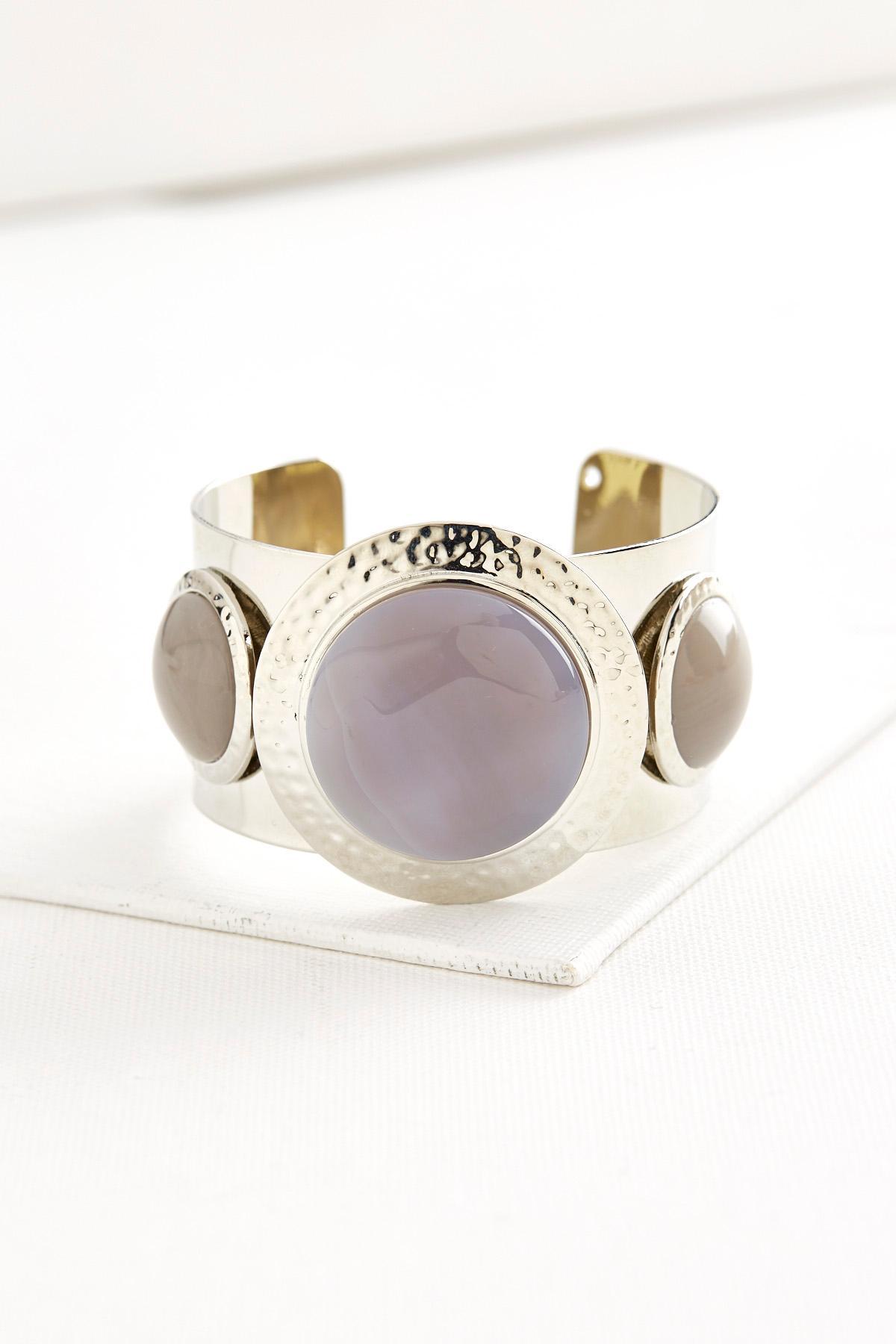 Hammered Semi- Precious Cuff Bracelet