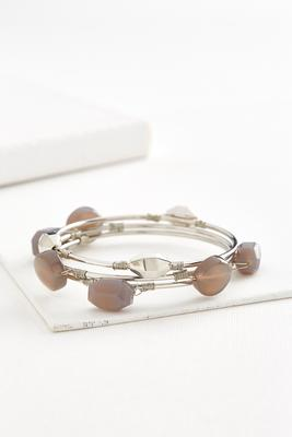 wire wrapped semi-precious bangle set