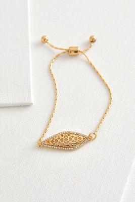 filigree charm brass pull string bracelet