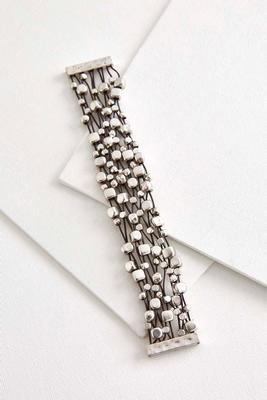 corded metal bead magnetic bracelet