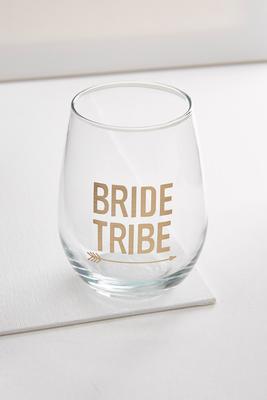 bride tribe stemless wine glass