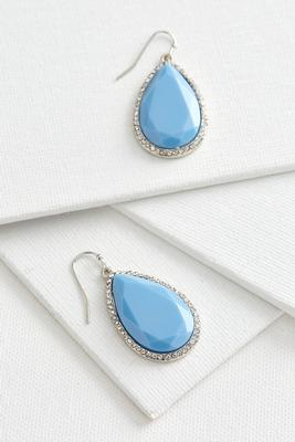 haloed stone dangle earrings