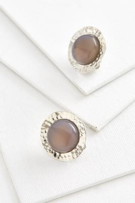 hammered stone center clip on earrings
