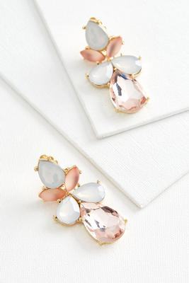 stone petal clip on earrings