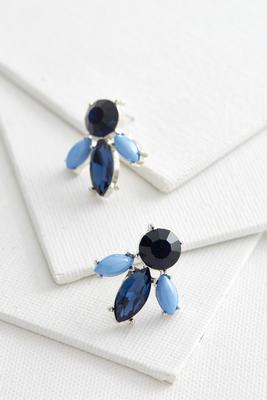 stone petal stud earrings