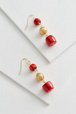 tiered semi-precious dangle earrings