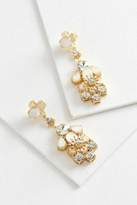 stone cluster flower statement earrings