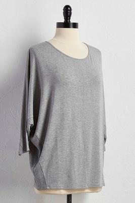 ribbed trim dolman top