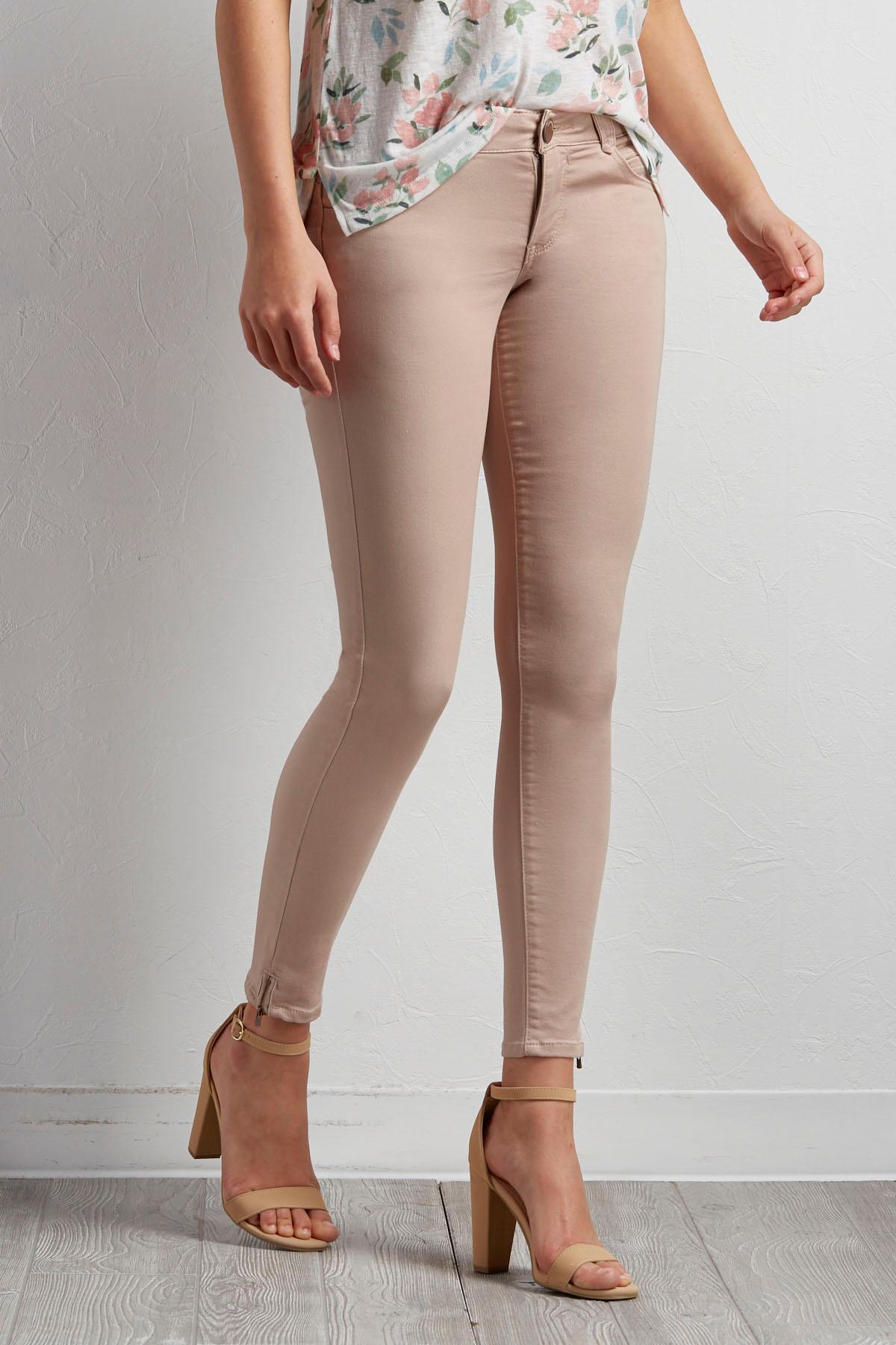 Micro Zip Hem Skinny Jeans