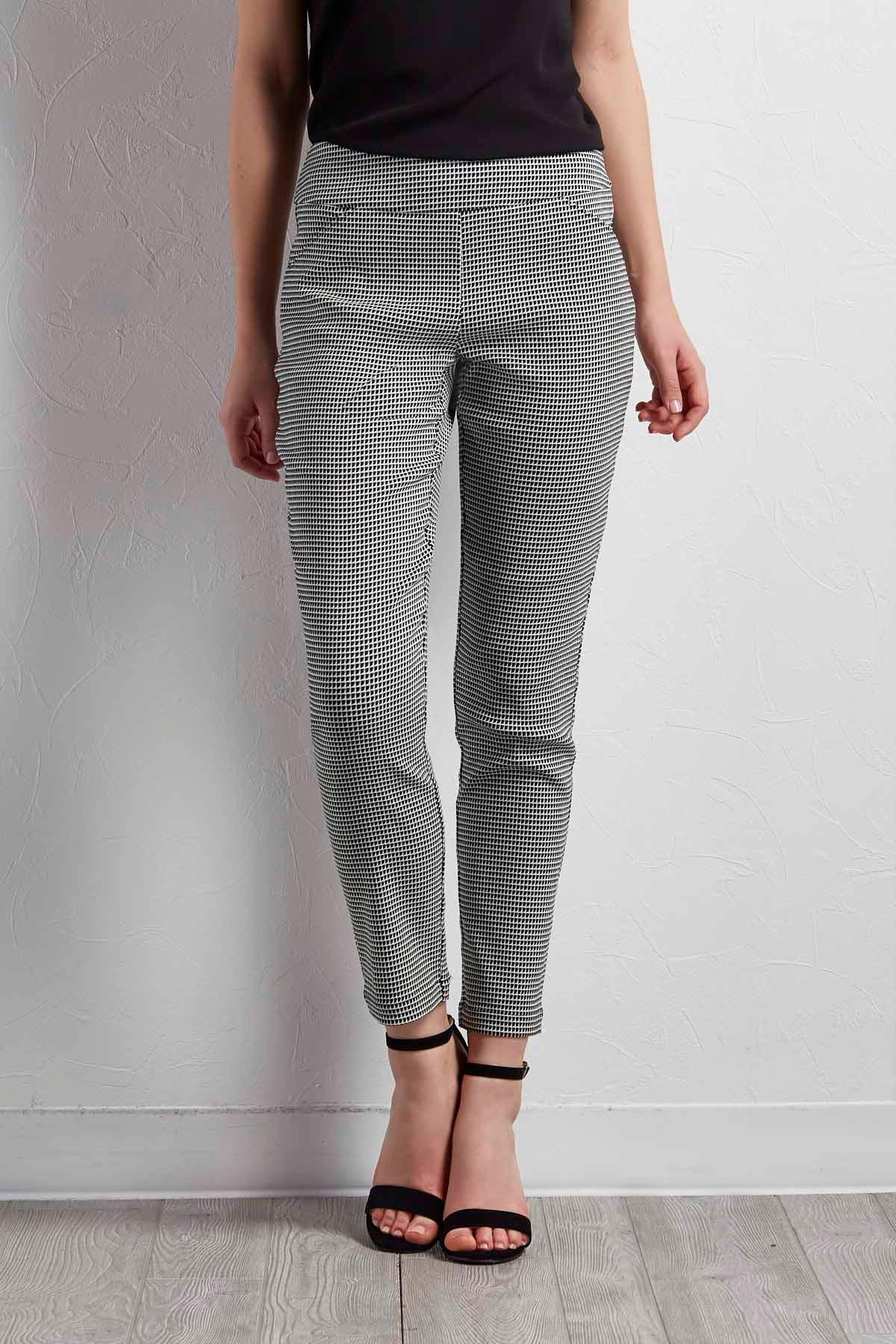 Grid Slim Leg Pants