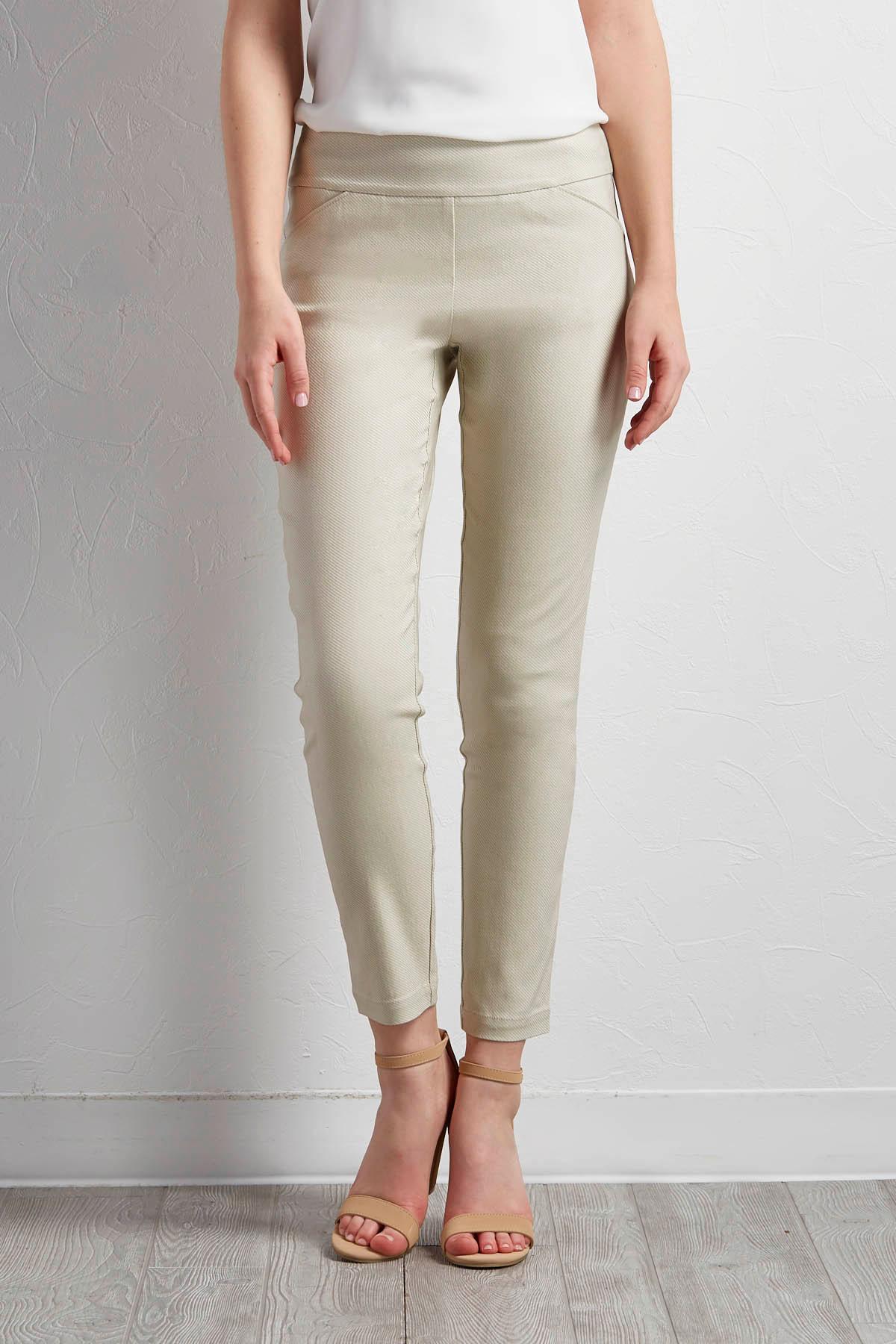 Diagonal Striped Slim Leg Pants