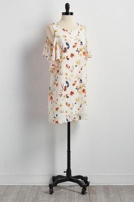 watercolor floral flounced shift dress