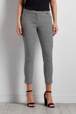 woven grid everyday ankle pants