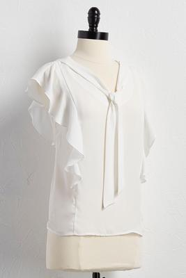 ruffled tie neck top