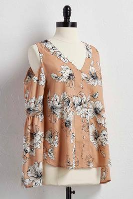 floral bare shoulder top