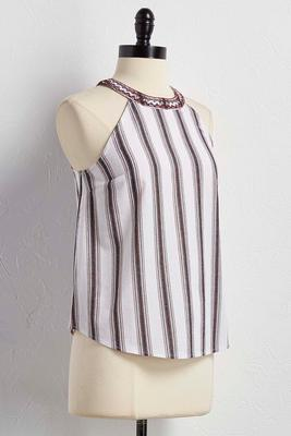 embroidered band striped tank