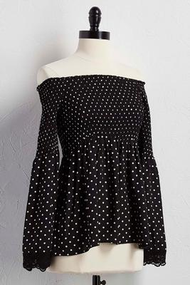 smocked off the shoulder polka dot babydoll top