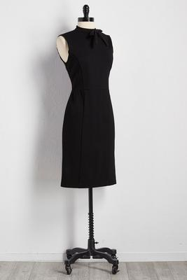 bow neck ponte sheath dress