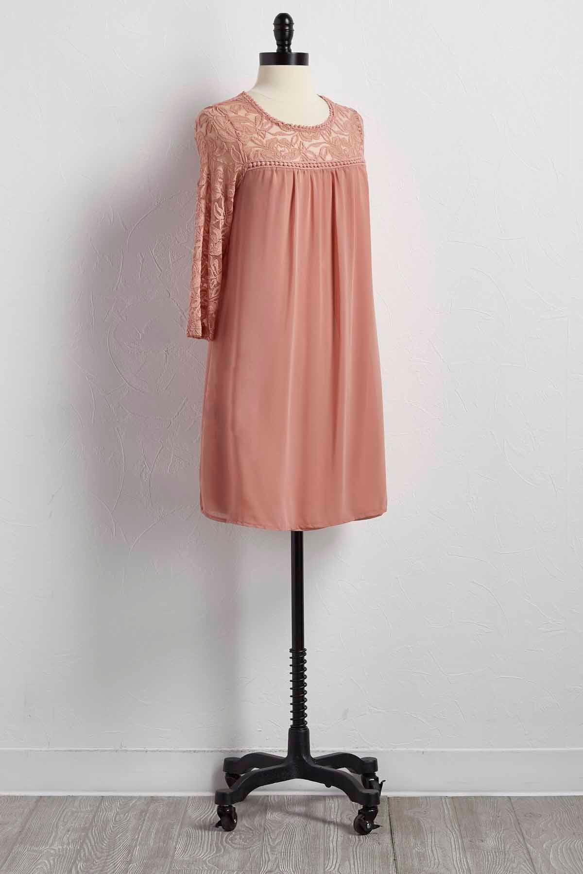 Lace Neck Shift Dress