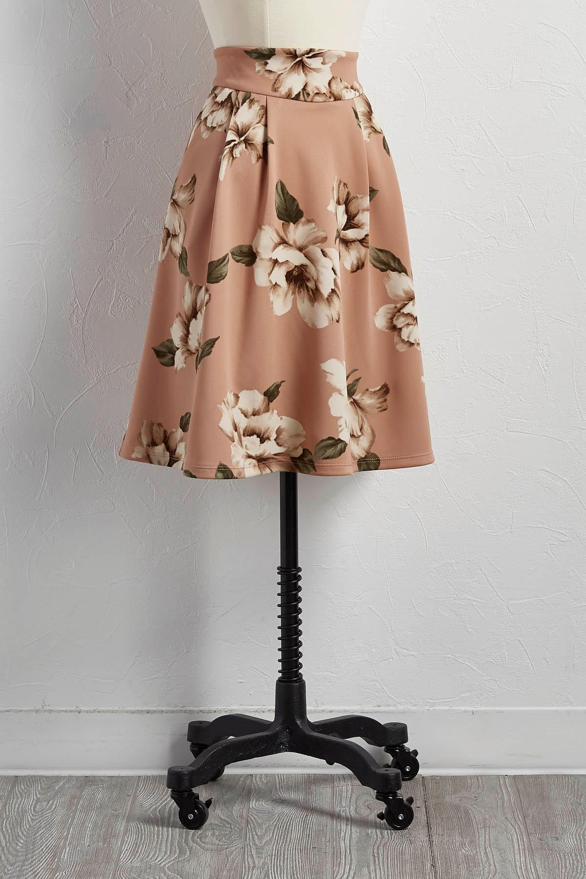 Pleated Floral A- Line Skirt