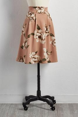 pleated floral a-line skirt