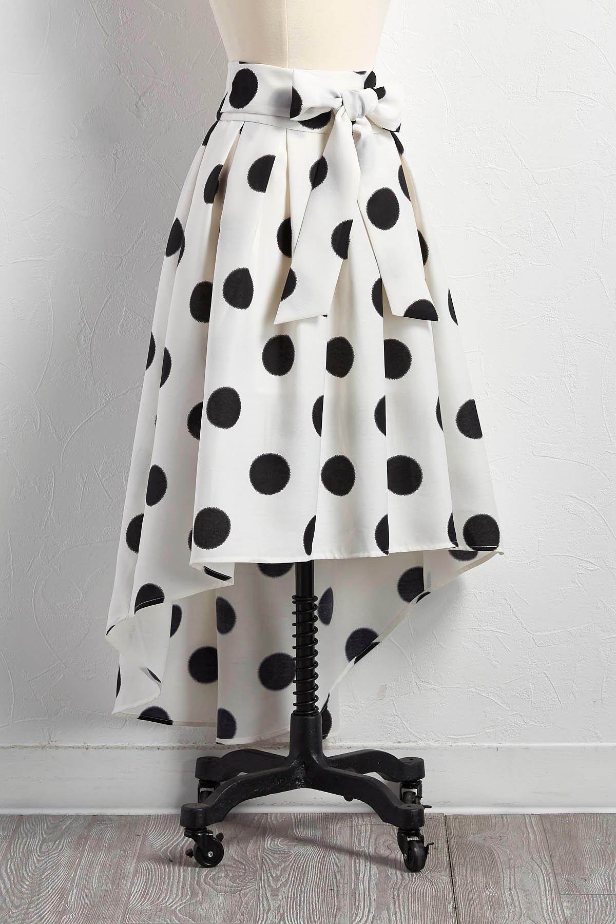 Graphic Polka Dot High- Low Skirt