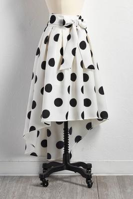 graphic polka dot high-low skirt