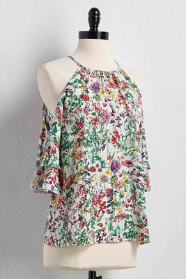 ruffled floral bare shoulder top