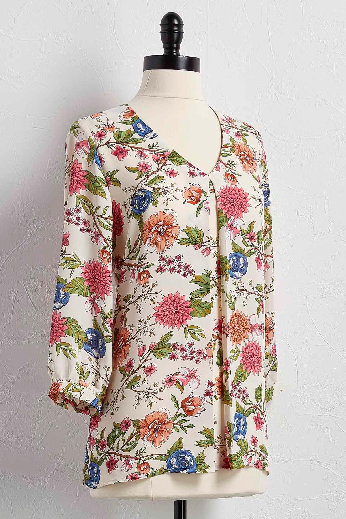Floral Pleat Front Top