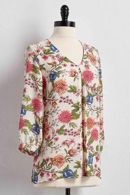 floral pleat front top