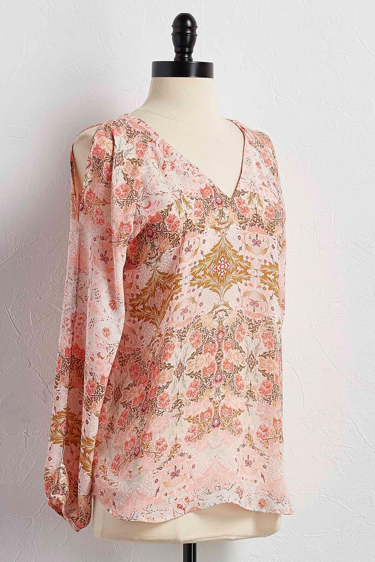Floral Slit Sleeve Top