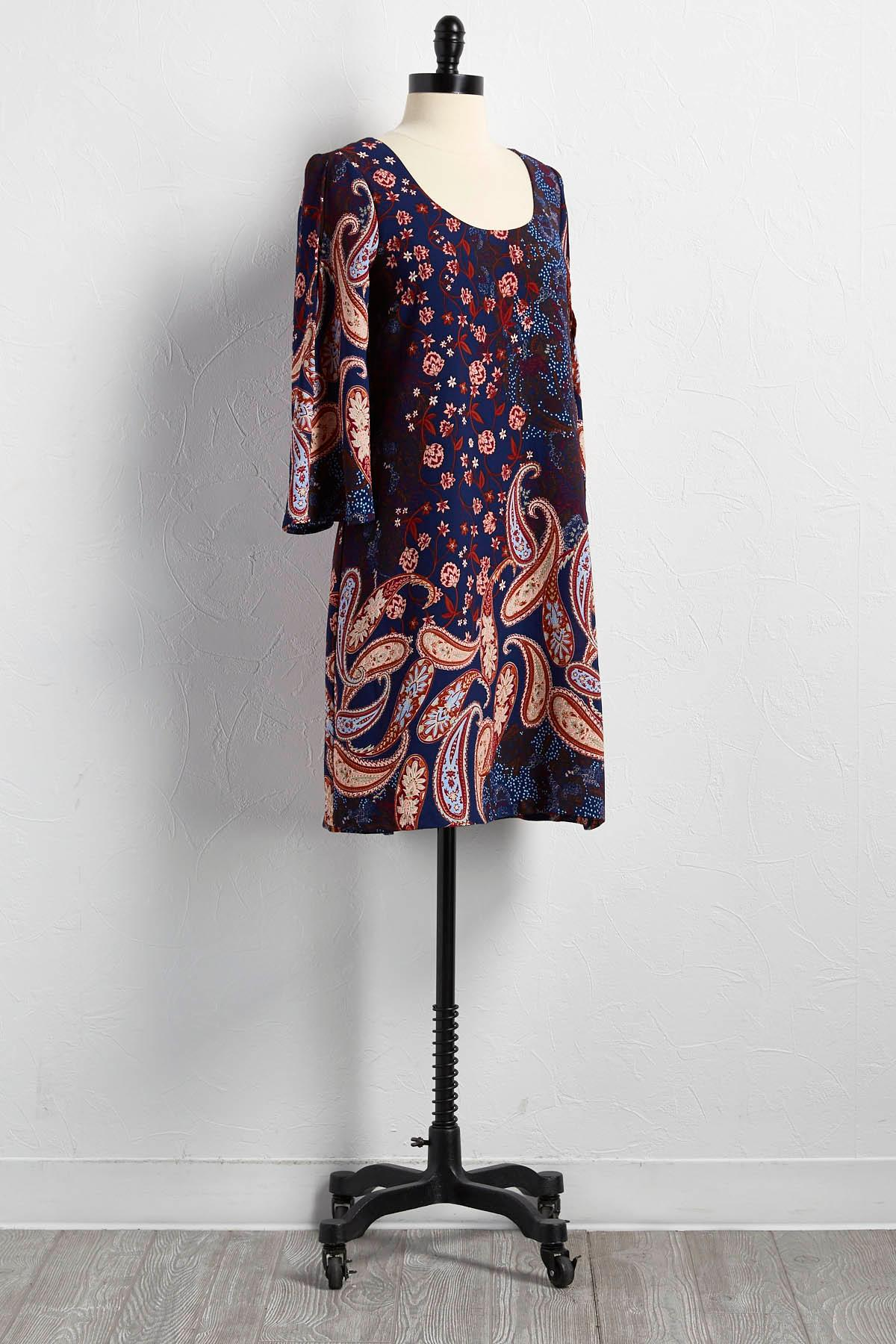 Floral Paisley Lattice Back Shift Dress