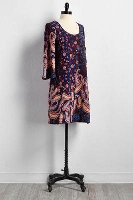 floral paisley lattice back shift dress