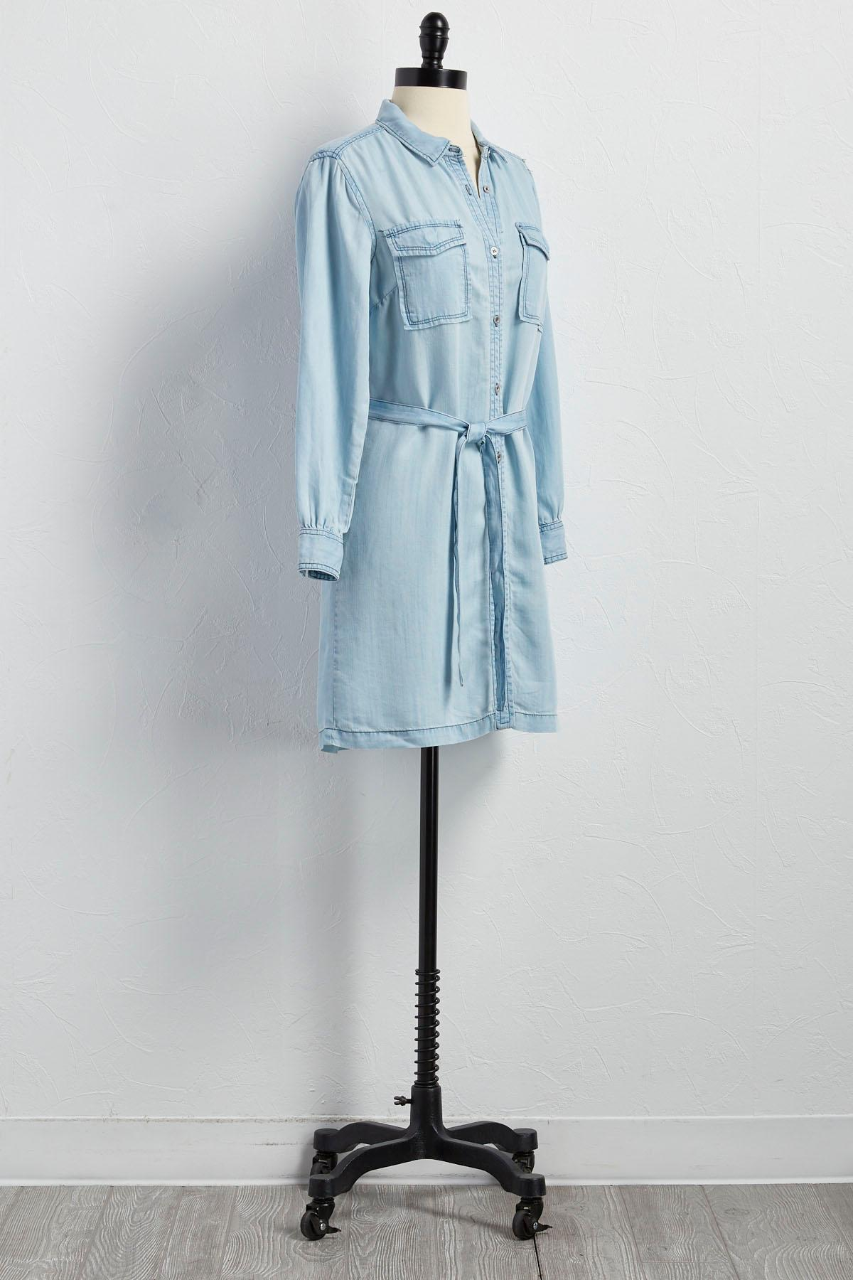 Versona Belted Chambray Shirt Dress