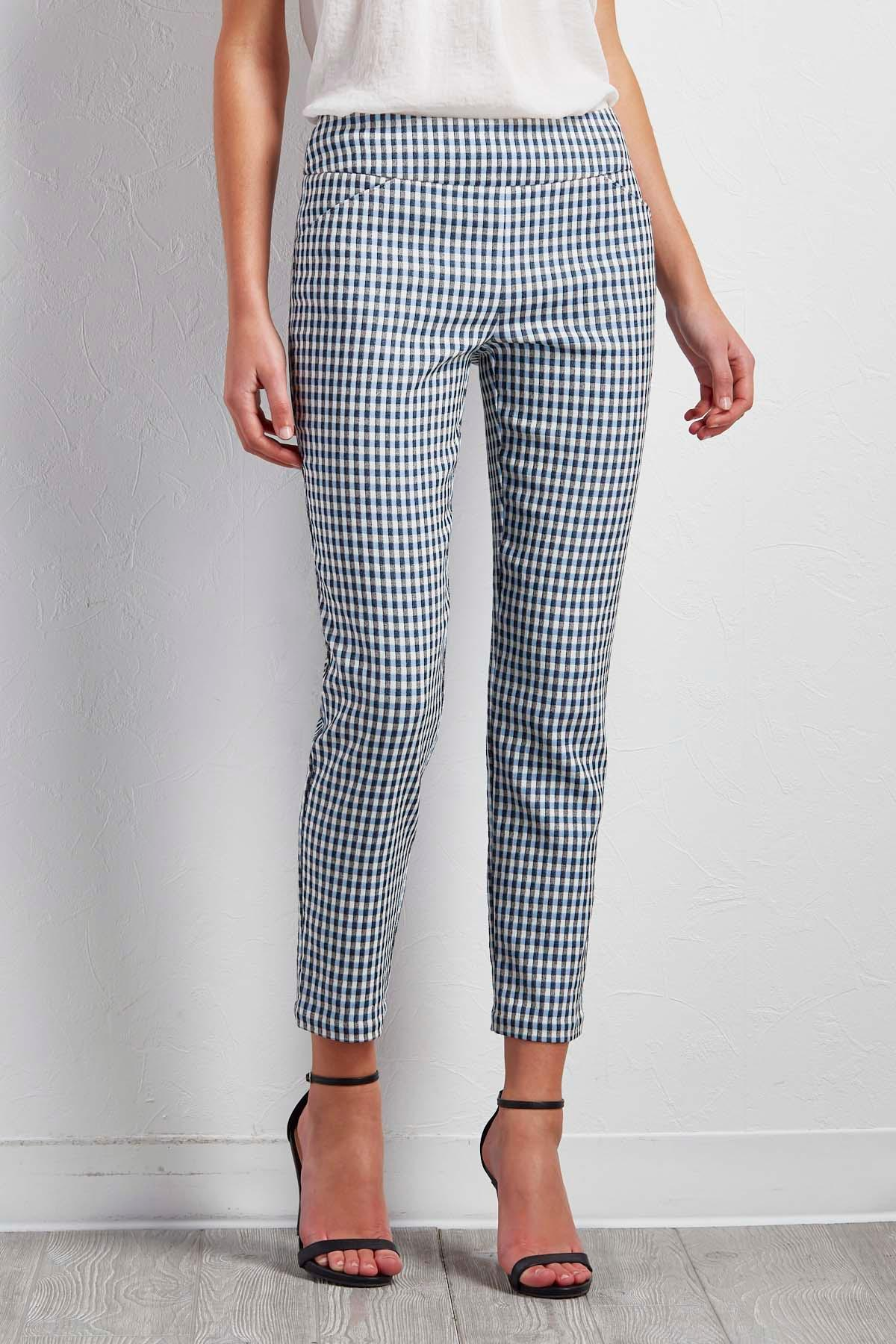 Gingham Pull- On Ankle Pants