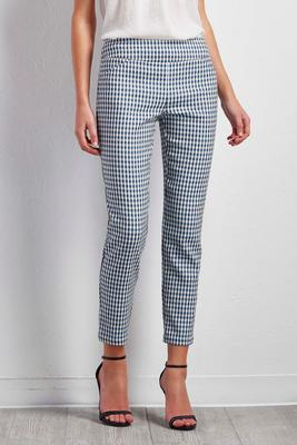 gingham pull-on ankle pants