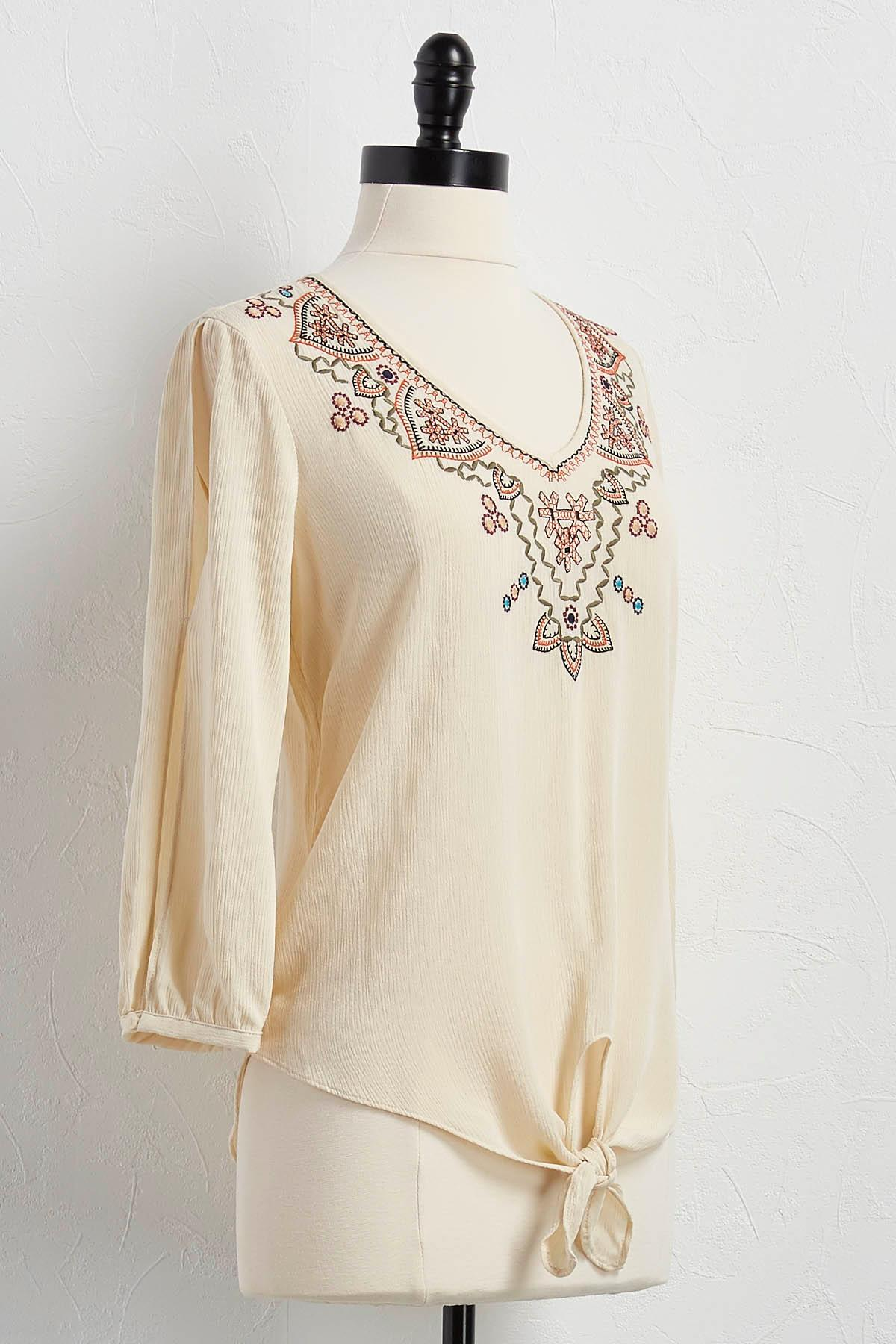 Embroidered Tie Front Top