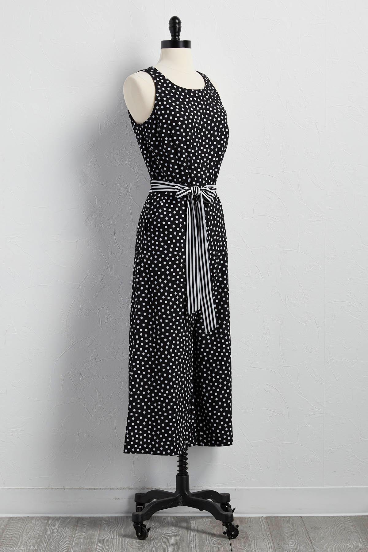 Belted Polka Dot Culotte Jumpsuit
