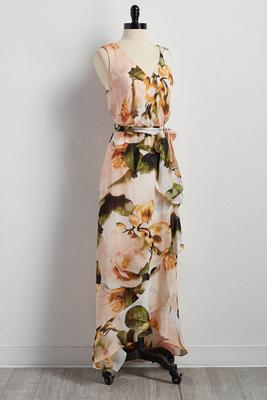 belted faux wrap floral maxi dress