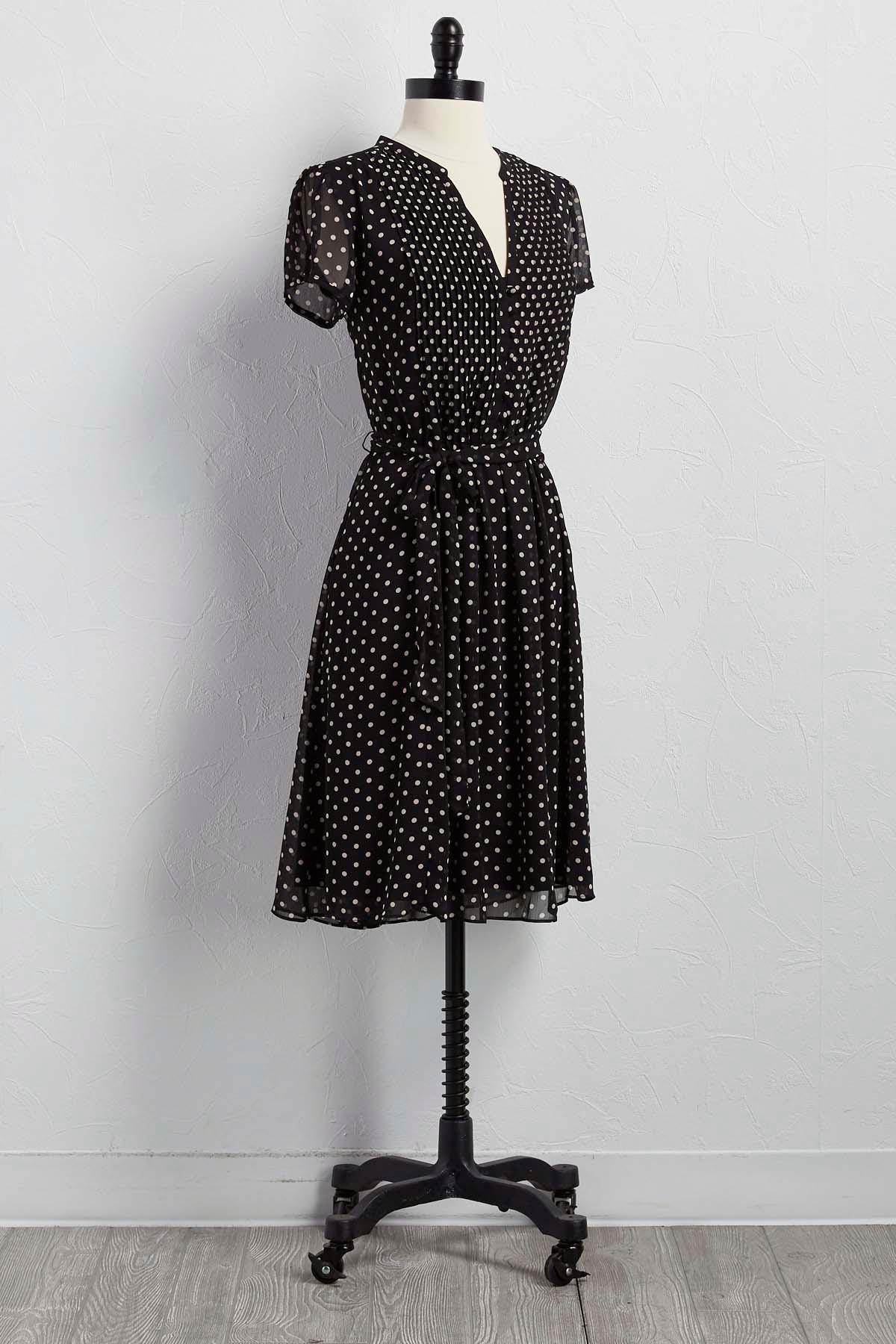 Belted Polka Dot Shirt Dress