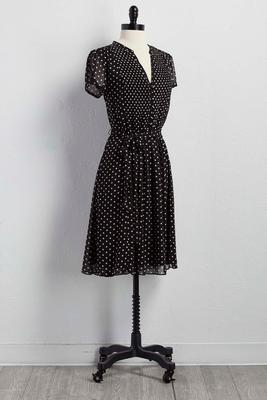 belted polka dot shirt dress