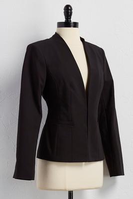 collarless structured blazer