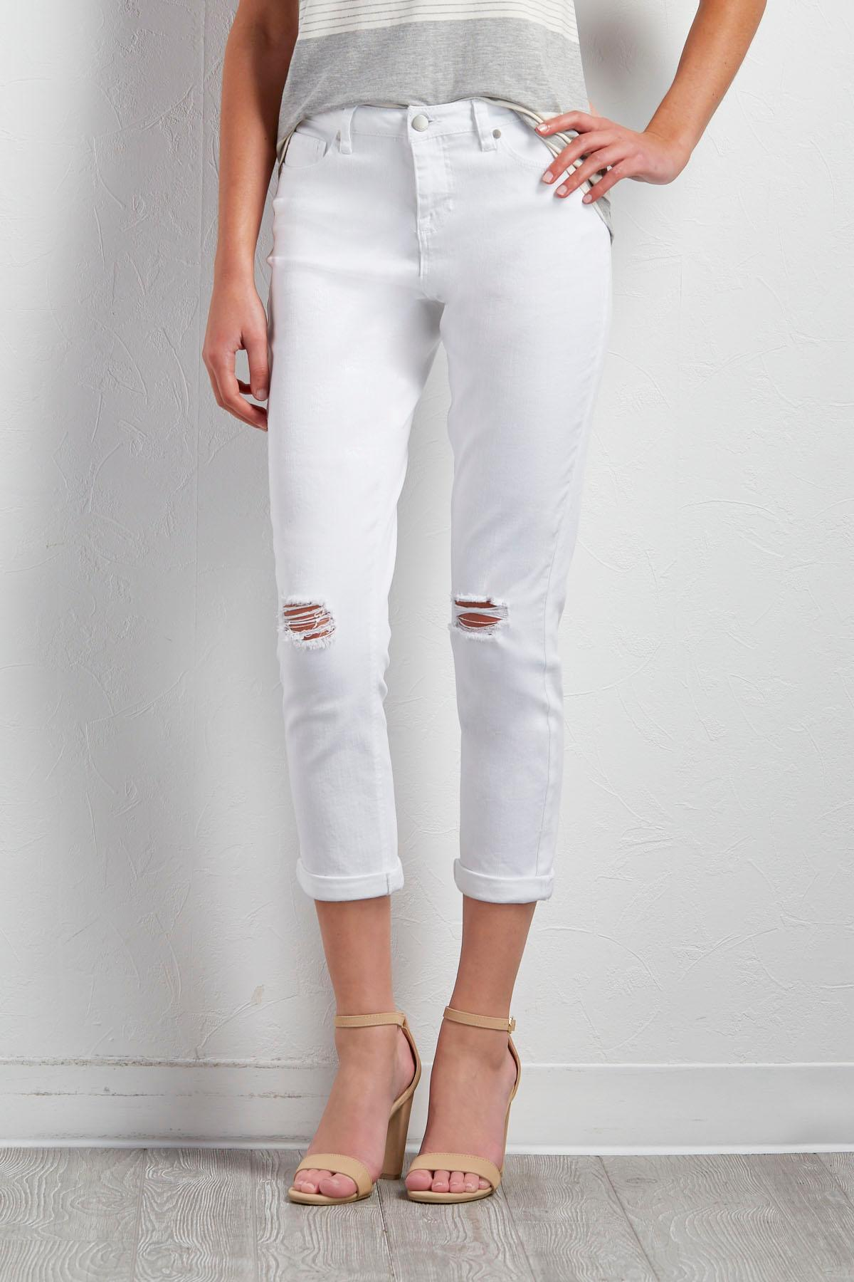 White Distressed Girlfriend Jeans