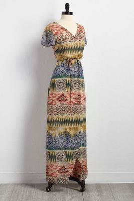 tribal striped wrap maxi dress